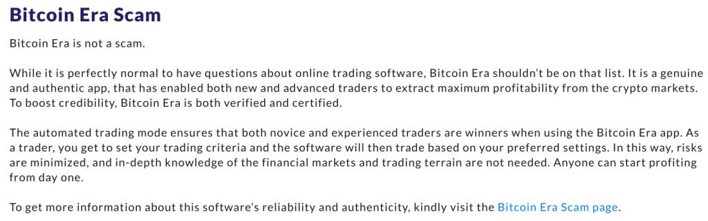 Bitcoin era scam