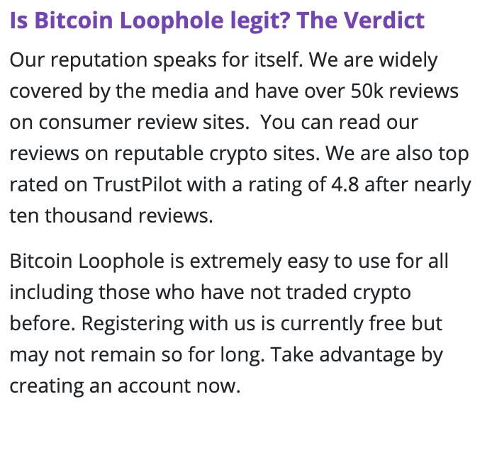 Bitcoin loophole trust pilot score