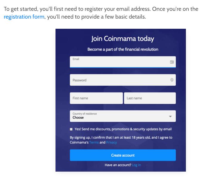 Coinmama quick registration