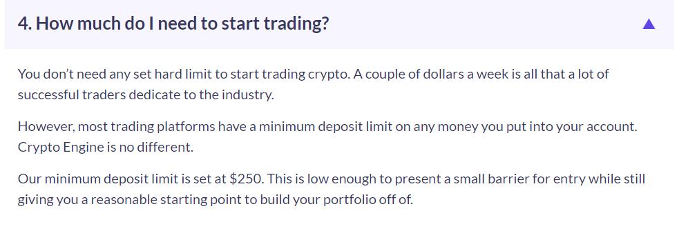 crypto engine minimum deposit
