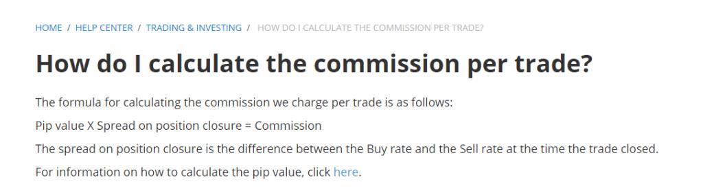 Calculate commision per trade
